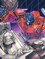 Optimus Prime vs. Megatron by kieranoats
