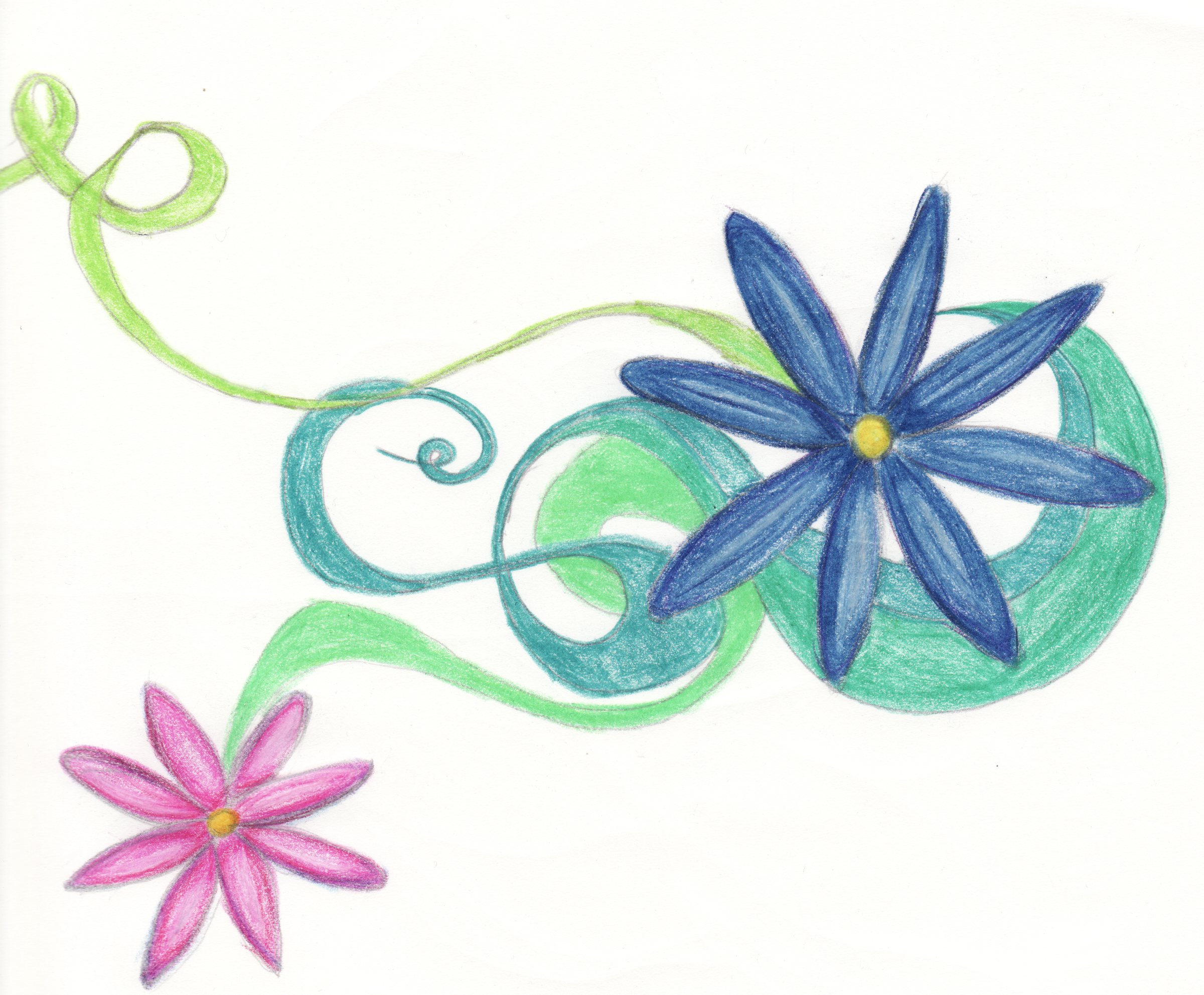 flowers and swirls by kburning traditional art drawings other so in ... Pencil Drawing Pictures Of Flowers