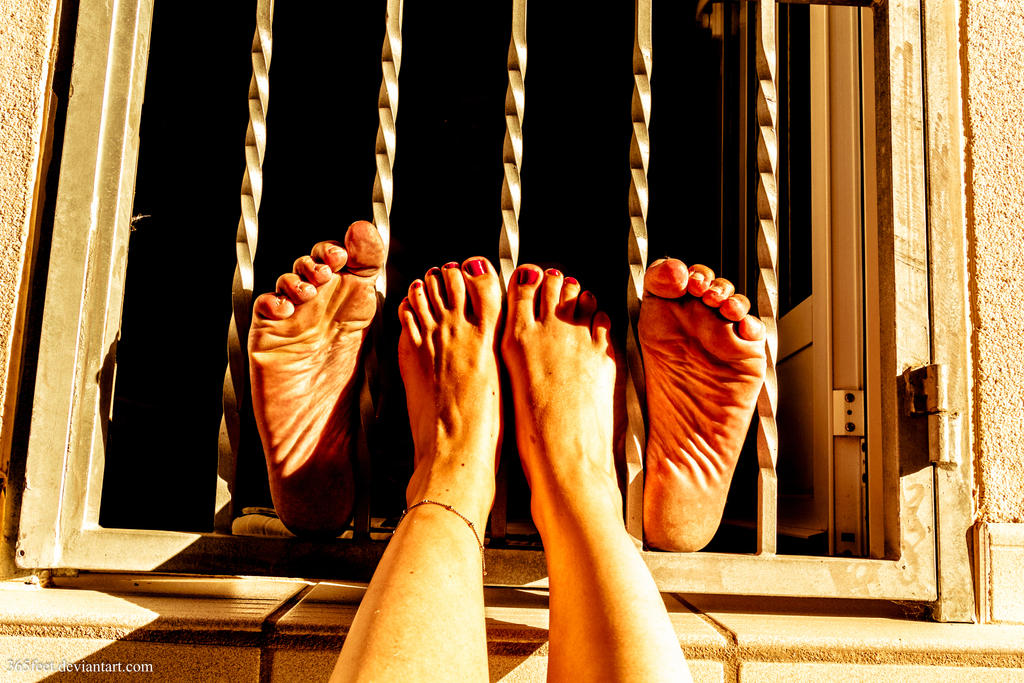 His Feet Imprisoned, Her Feet Free by 365feet