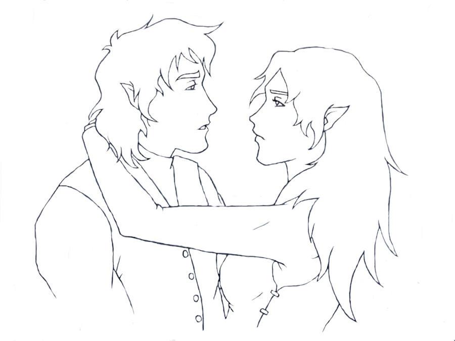 Line Drawing Couple : Hobbit couple line art by shango on deviantart