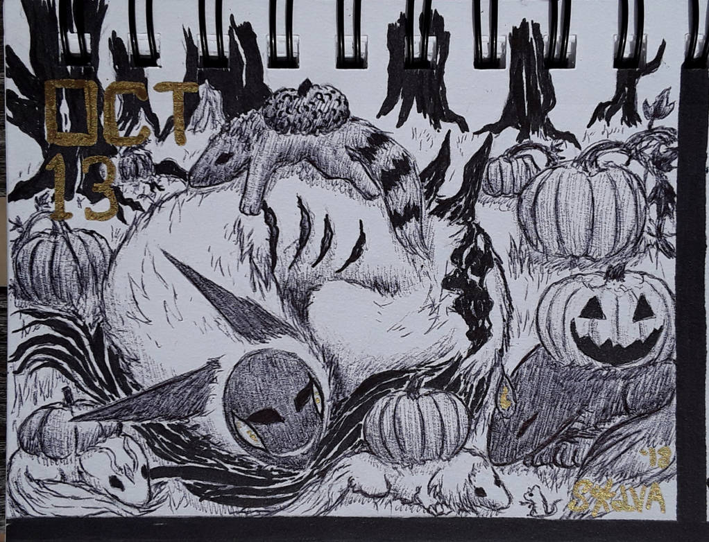 INKTOBER Day 13: Murkya in the Pumpkin Patch by Sokolva
