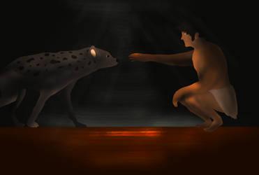 Man and Hyena by YellowPanda2001