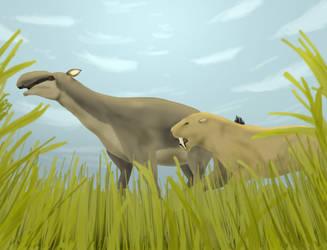 Smilodon hunting Macrauchenia by YellowPanda2001