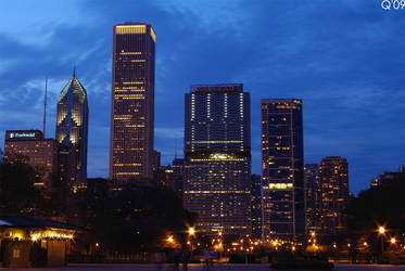 night falls -Chicago-