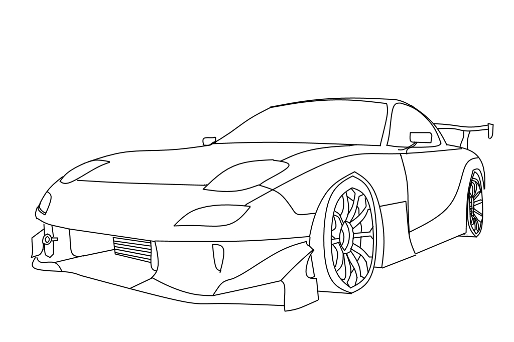 Mazda Rx7 Fd With Wide Body Kit Template by k0dexd on