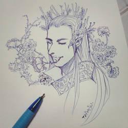 Thranduil pen sketch by taimosu