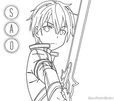 Kirito SAO Lineart By BlackRabbitButler