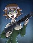 Chihiro with a shotgun