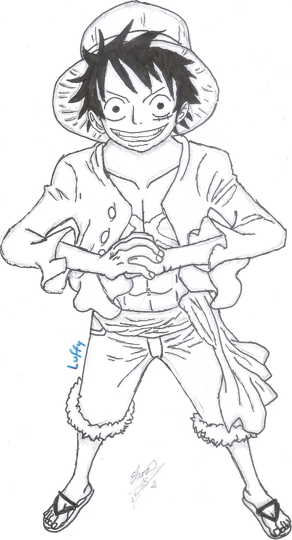 Luffy 2 years after lineart by minamotoandtotoro on deviantart - Coloriage one piece 2 ans plus tard ...