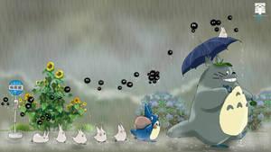 Totoro Rain Wallpaper