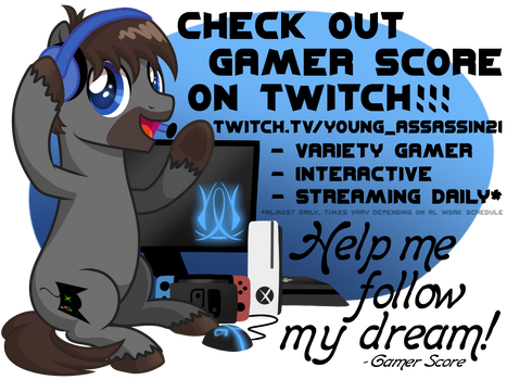 Check Out Gamer Score on Twitch! (FREE SKETCHES!)