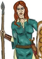 Queen Boudica With Shield by Zandoz