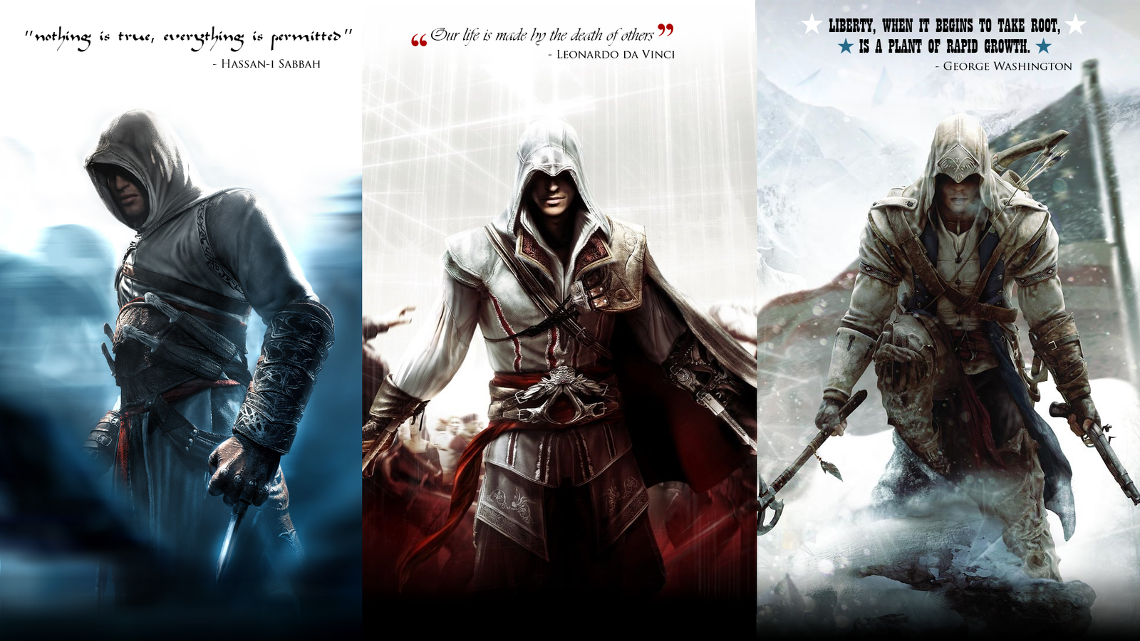 assassins creed altair ezio and connor by okiir on deviantart. Black Bedroom Furniture Sets. Home Design Ideas