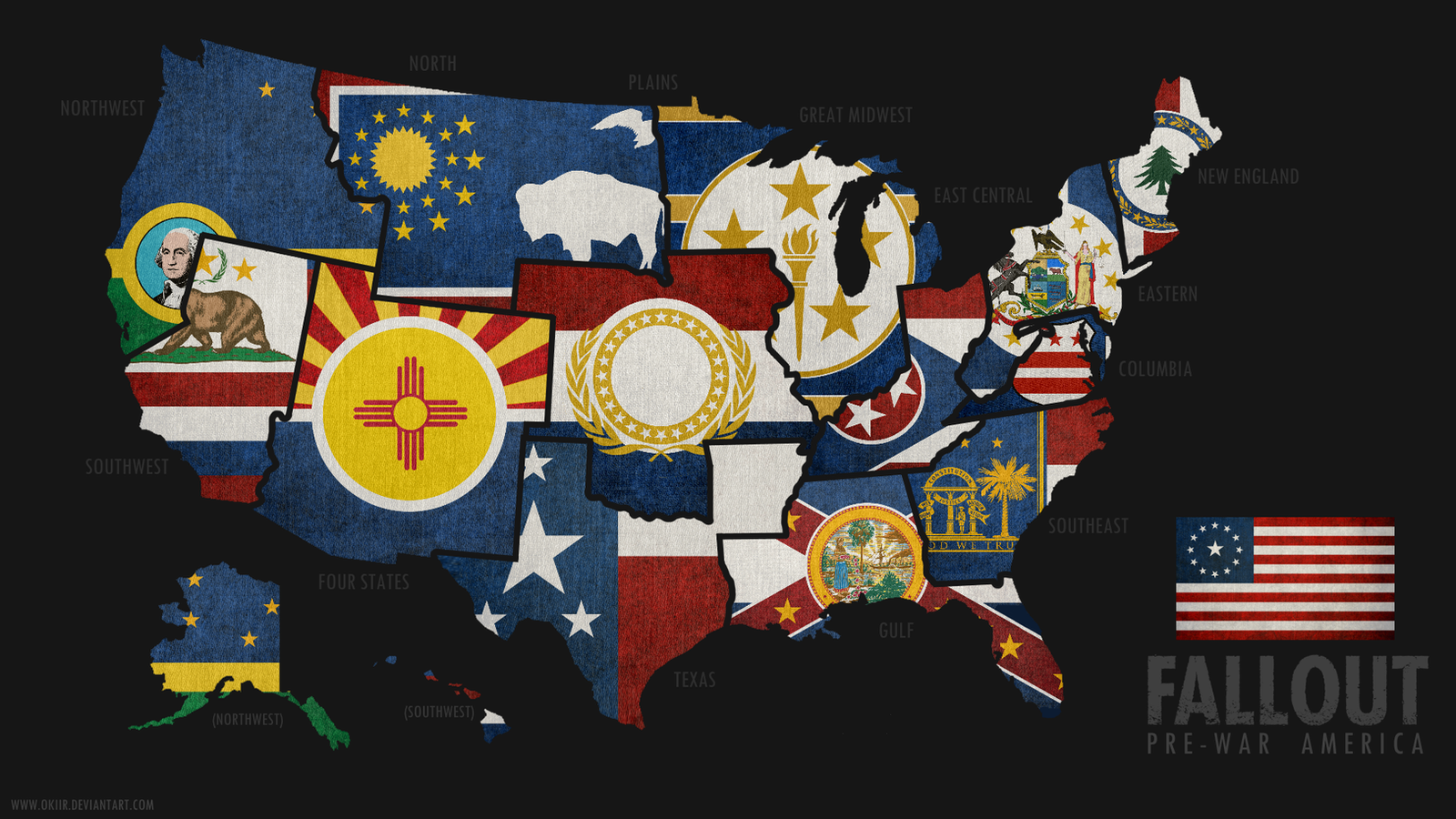 FALLOUT Map Of PreWar America By Okiir On DeviantArt - Us map american flag