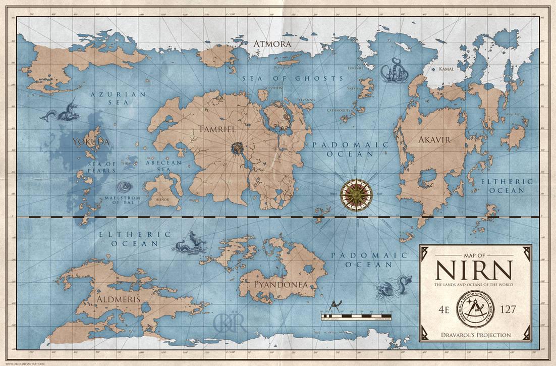 The Elder Scrolls World Map Of Nirn By Okiir On Deviantart
