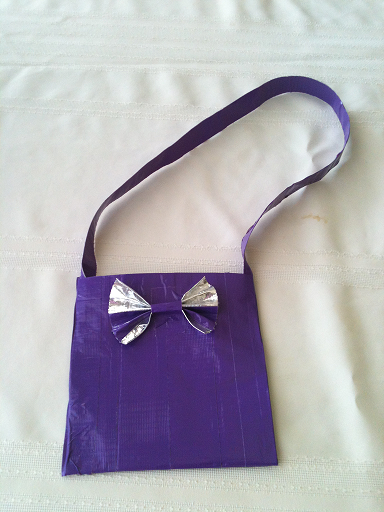 Purple and silver mini duct tape purse with bow by for Mini duct tape crafts