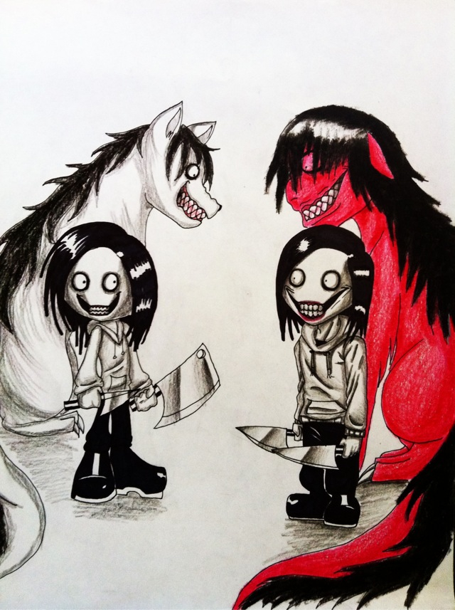 collab jeff the killer and smiledog by xxlevanaxx on