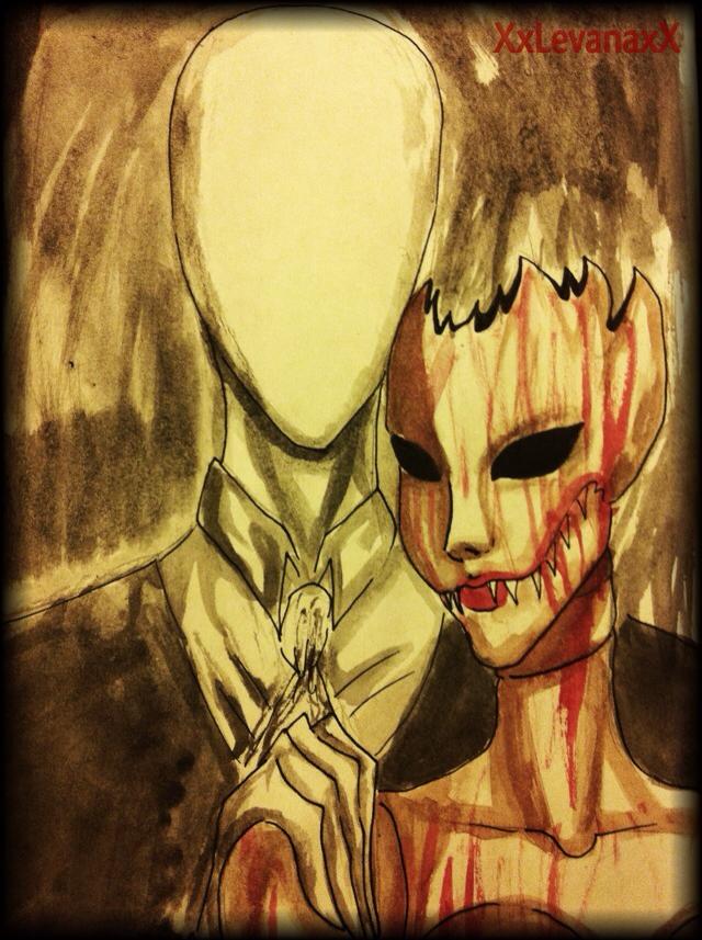 Slenderman and Scarlet Fitch -Portrait- by XxLevanaxX