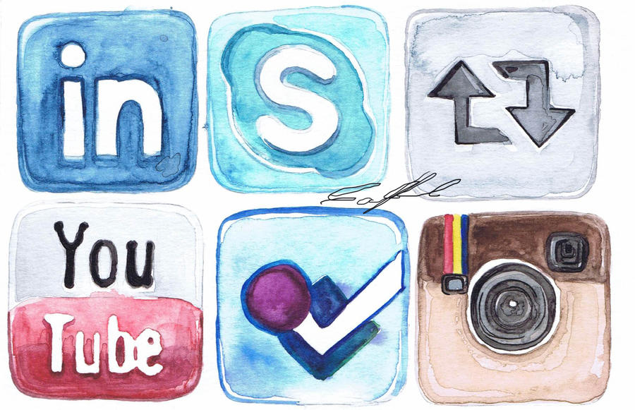 Watercolor Social Media Icons 2 By Camila Bunny On Deviantart