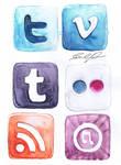 Watercolor Social Media icons 3