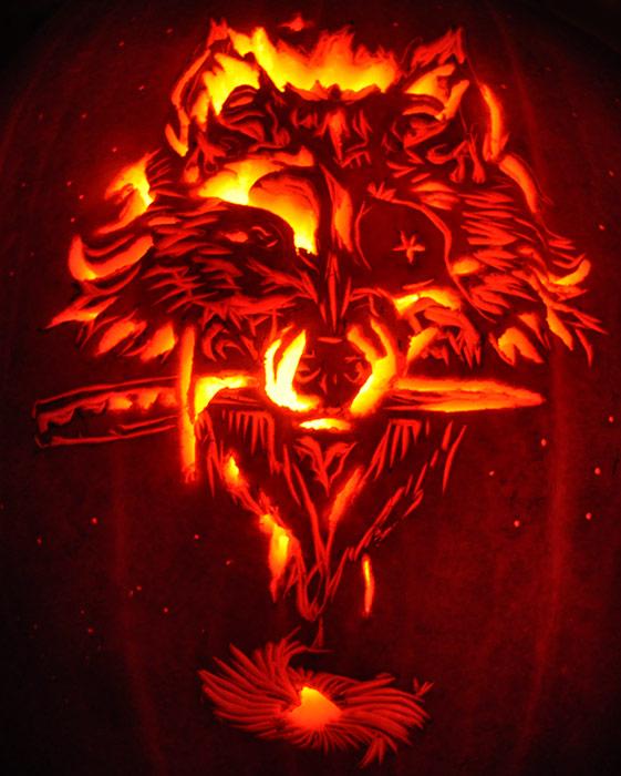 Wolf pumpkin by sarahkahlan on deviantart