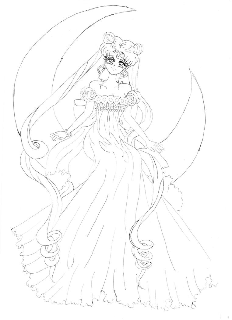sailor moon princess serenity coloring pages sketch