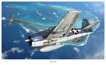 Pacific Dogfight by HendrikAviationArt