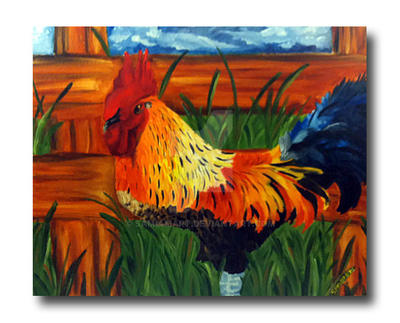Rooster done in oils by SamIamArt