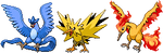 Articuno, Zapdos and Moltres Sprites by KingOfThe-X-Roads