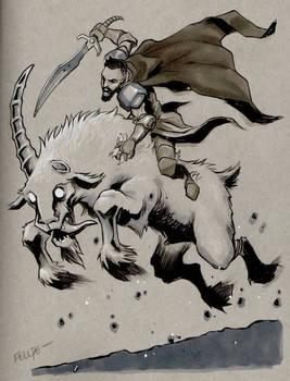 Randall the ranger astride the Goat of Terror