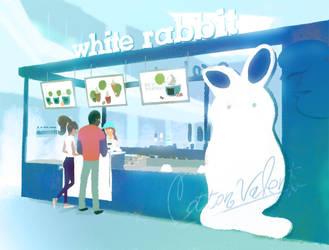 white rabbit by cottonchan