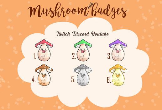 Mushroom Sub/ bit badges