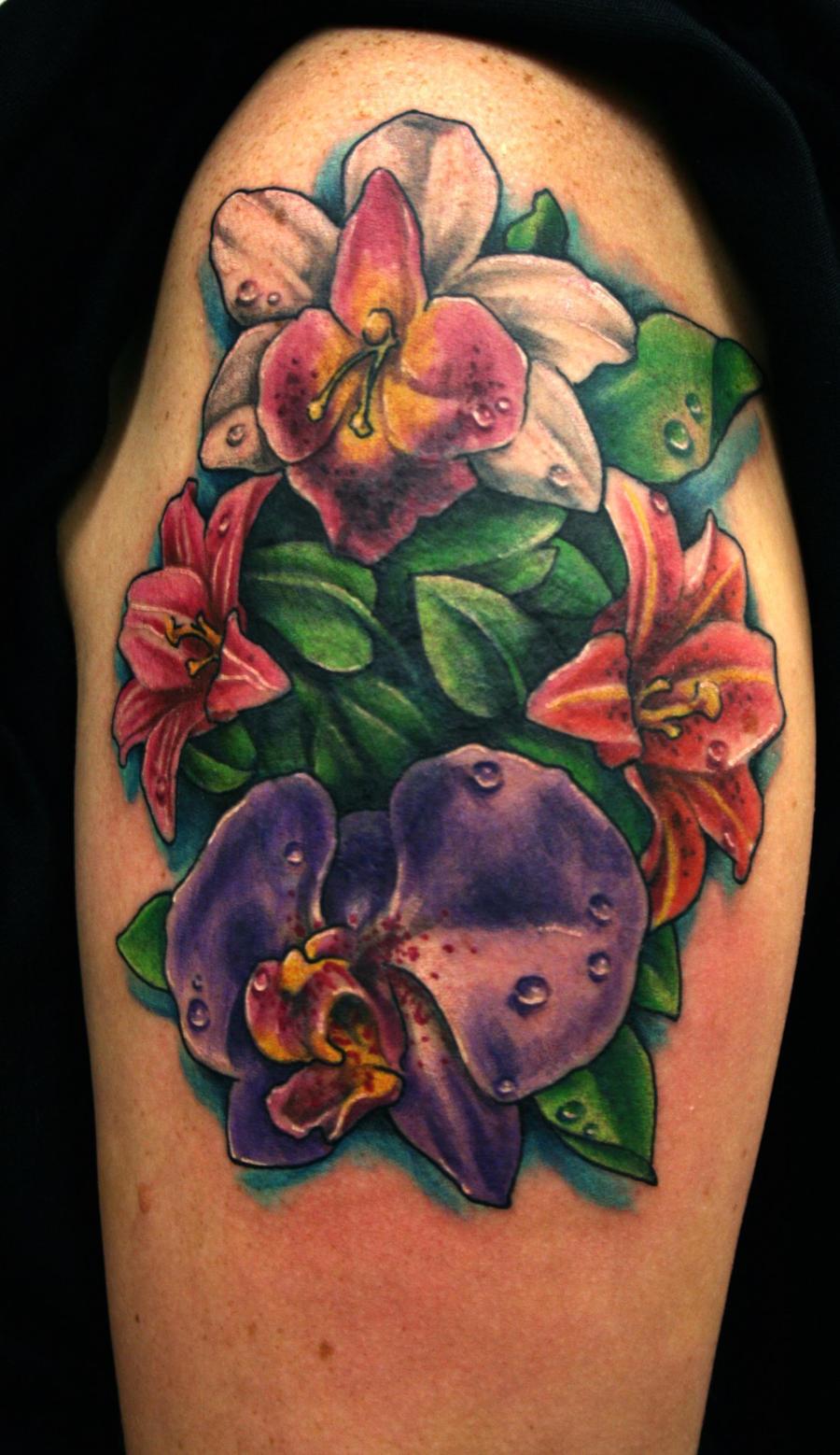 orchid flower tattoo by jackie rabbit by jackierabbit12 on deviantart. Black Bedroom Furniture Sets. Home Design Ideas
