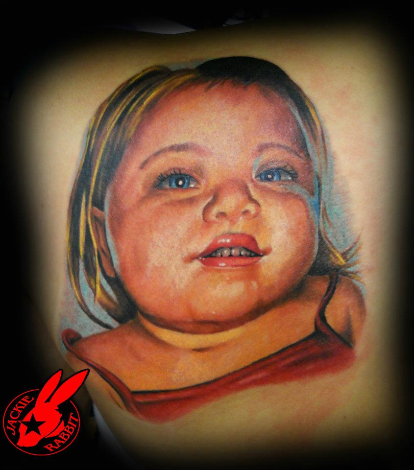 Color Portrait Tattoo by Jackie Rabbit