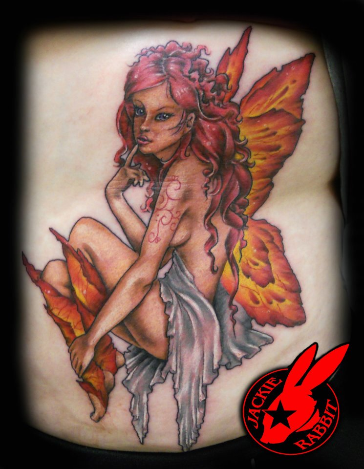 Sexy pink fire fairy tattoo by jackie rabbit by for Sexy fairy tattoos
