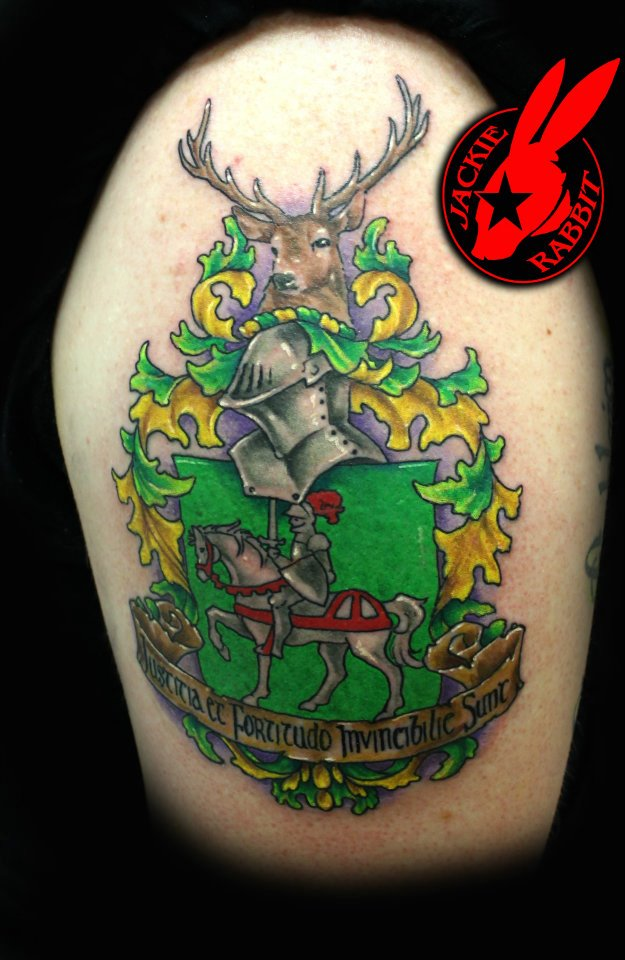 Family crest tattoo by jackie rabbit by jackierabbit12 on for Tattoo shops roanoke va