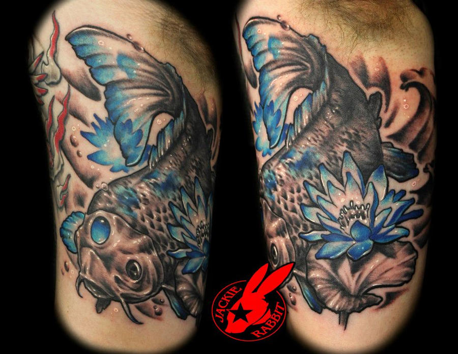 Blue koi fish tattoo by jackie rabbit by jackierabbit12 on for Blue and white koi fish