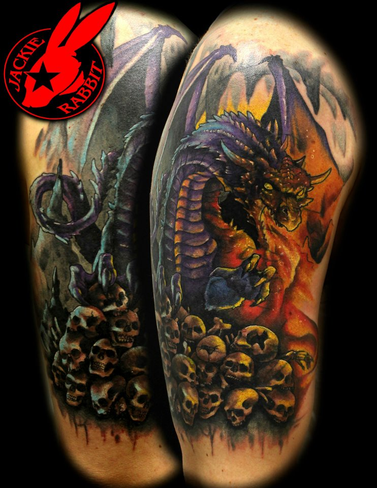 Fire breathing dragon tattoo by jackie rabbit by for Jade dragon tattoo
