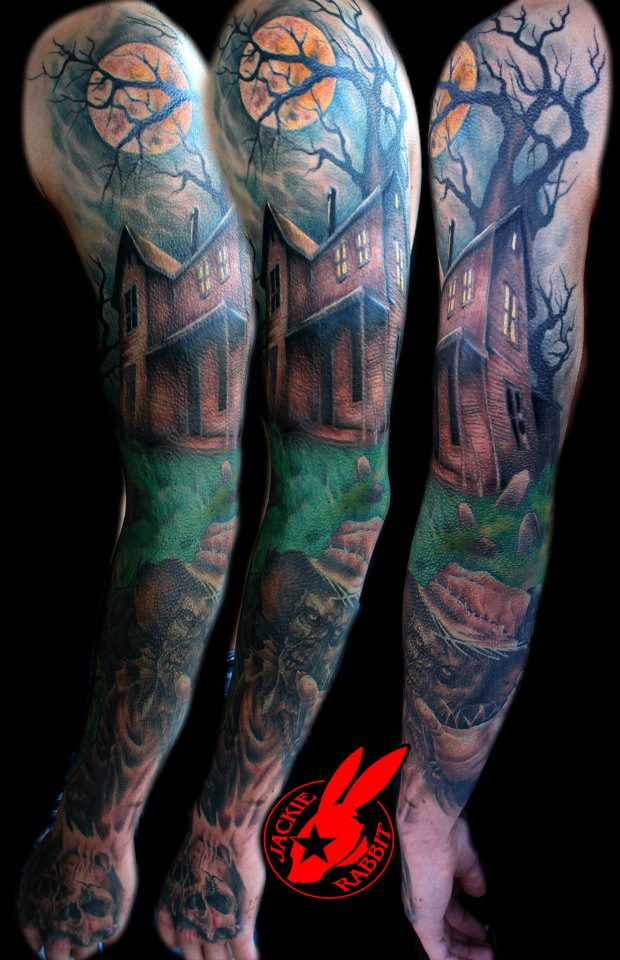 Haunted house sleeve tattoo by jackie rabbit by for Gothic city tattoos