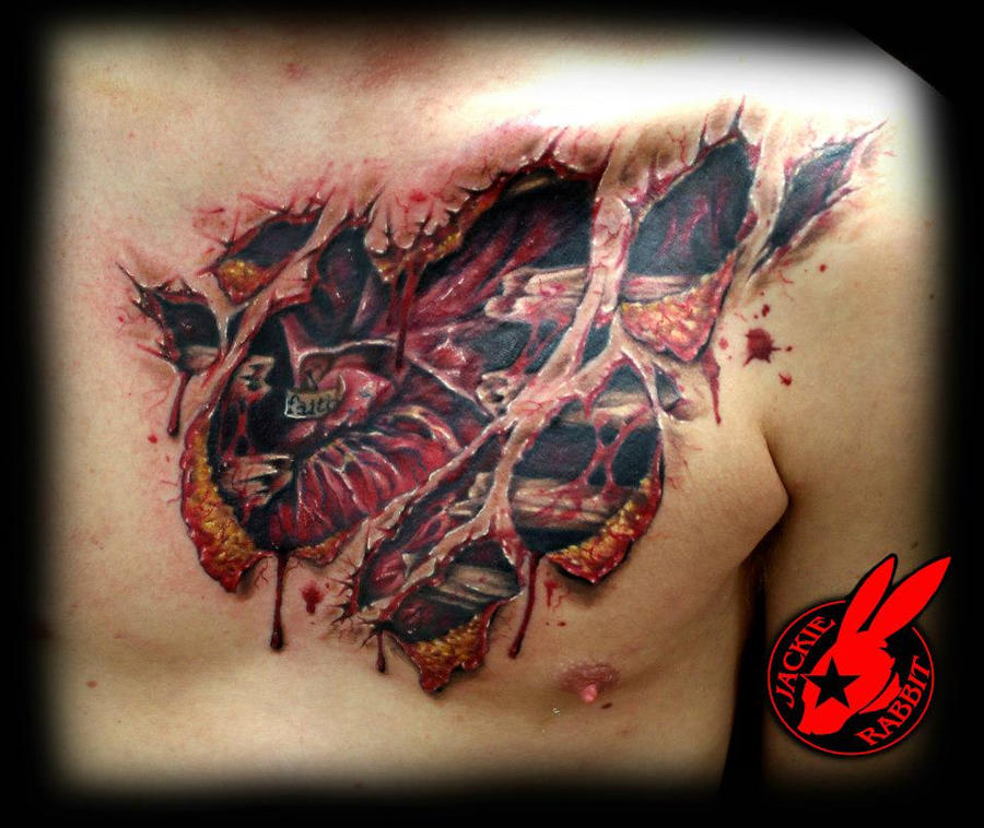 heart tear out tattoo by jackie rabbit healed by jackierabbit12    Real Metal Heart Tattoos