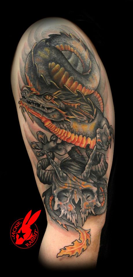 Dragon and skull tattoo by jackie rabbit by jackierabbit12 for Tattoo shops roanoke va