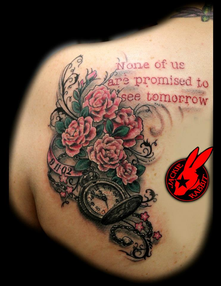 7da94f9295b42 Roses and Watch Tattoo by Jackie Rabbit by jackierabbit12 on DeviantArt