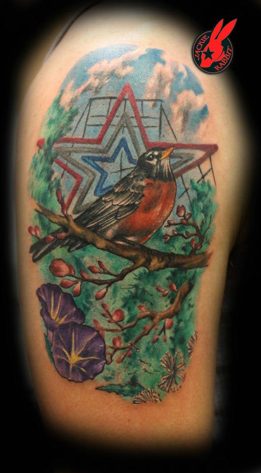 roanoke star and robin tattoo by jackie rabbit by