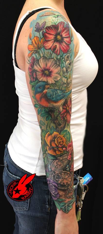 flower garden sleeve tattoo by jackie rabbit by jackierabbit12 on deviantart. Black Bedroom Furniture Sets. Home Design Ideas