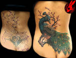 Peacock Cover Up tattoo by Jackie Rabbit by jackierabbit12