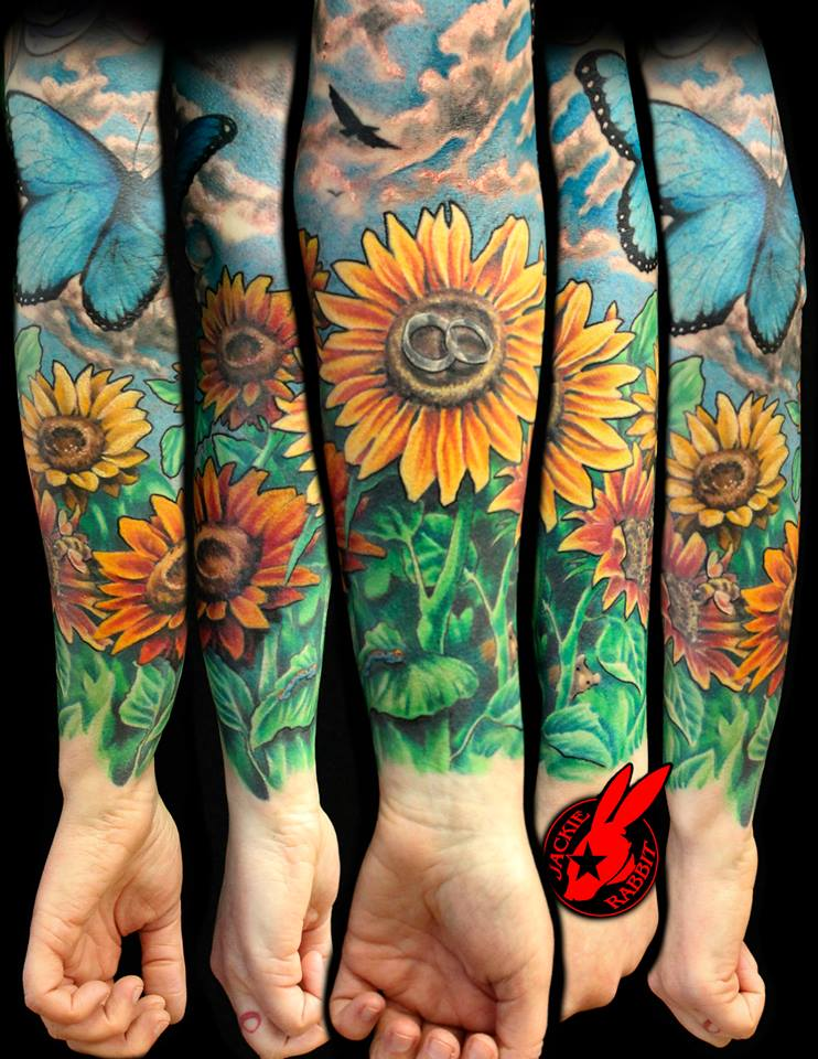 sunflower tattoo sleeve best home decorating ideas. Black Bedroom Furniture Sets. Home Design Ideas