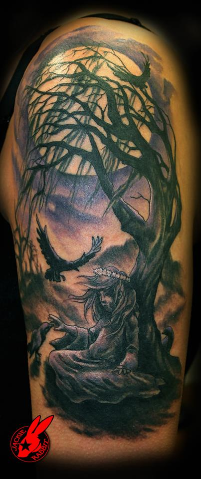 Gothic girl and tree tattoo by jackie rabbit by for Tattoo shops roanoke va