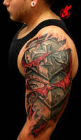 Armor Plate Skin Tear Out Tattoo by Jackie Rabbit