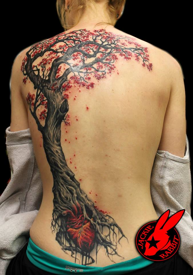 Tree and heart back piece tattoo by jackie rabbit by for Tree back tattoo