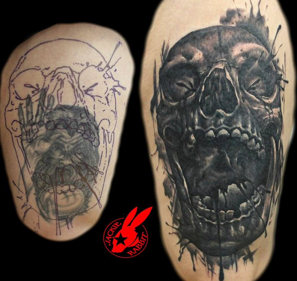2f59657bd0d66 Evil Skull Coverup Tattoo by Jackie Rabbit by jackierabbit12 on ...
